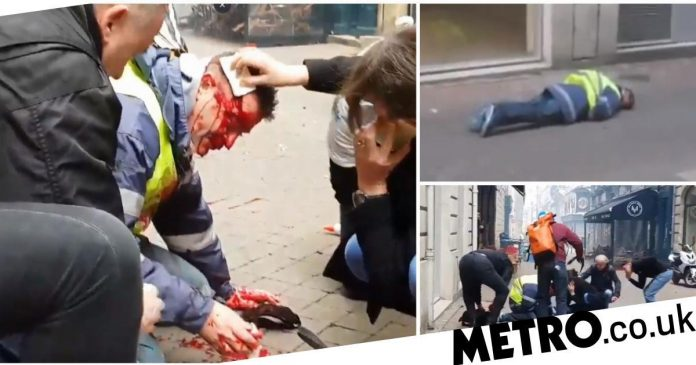 Fireman mind damaged as he's shot in back of head right by Yellow Vest yell